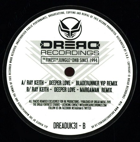 Ray Keith - Deeper Love Remixes - DREADUK31 - DREAD UK