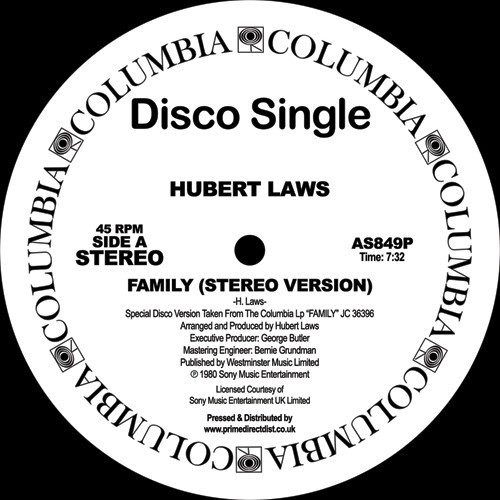 Hubert Laws - Family - AS849P - COLUMBIA DISCO SERIES