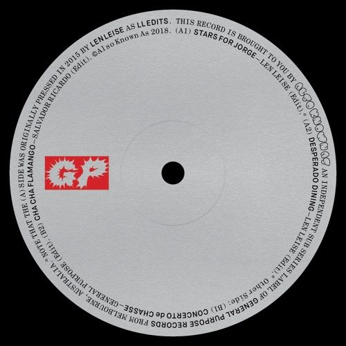 "General Pur|Len Leise|Salvador Ricardo - Also Known As Edits 12"" (incl ""ll Edits"" - GP-AKA-001 - GENERAL PURPOSE"
