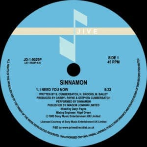 Sinnamon - I Need You Now - JD19029P - JIVE