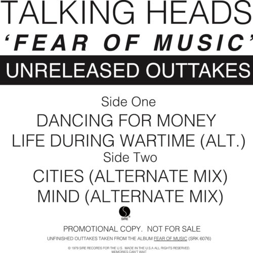 Talking Heads - Fear Of Music - Unreleased Outakes - PRO-A-1074 - SIRE